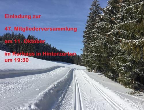 47. Mitgliederversammlung am 11. Oktober in Hinterzarten im Kurhaus um 19:30